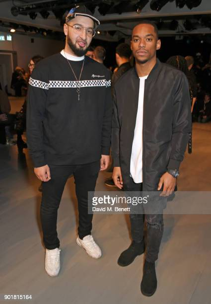 Mustafa Rahimtulla and Jamal Shurland of RakSu attend the What We Wear show during London Fashion Week Men's January 2018 at BFC Show Space on...
