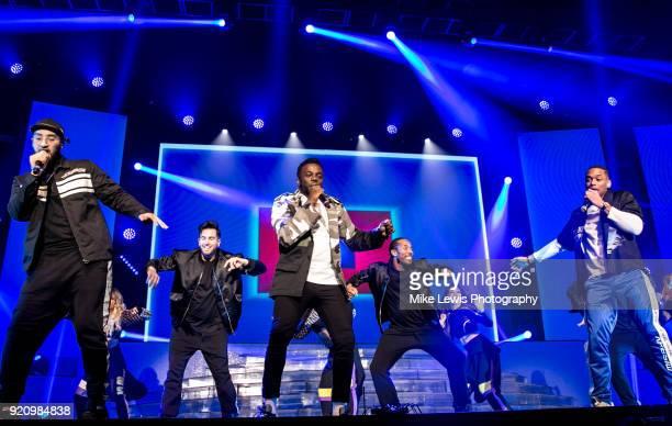 Mustafa Rahimtulla Ashley Fongho and Jamaal Shurland of RakSu perform on the X Factor Live tour on February 19 2018 in Cardiff United Kingdom