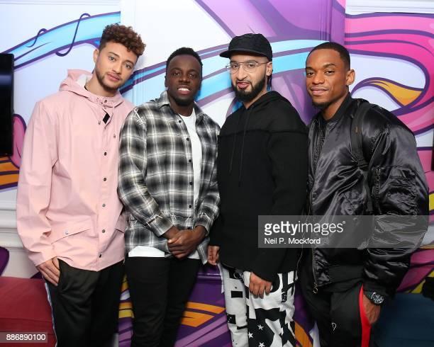 Mustafa Rahimtulla Ashley Fongho Myles Stephenson and Jamaal Shurland from X Factor winning group RakSu on with Ricky Melvin and Charlie at Kiss FM...