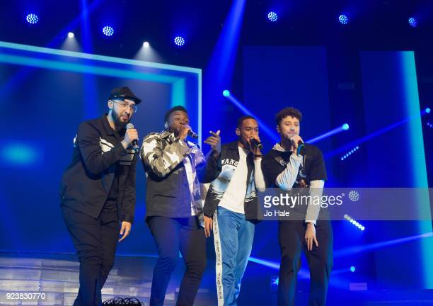 Mustafa Rahimtulla Ashley Fongo Jamaal Shurland and Myles Stephenson of RakSu perform on stage at X Factor Live Tour at SSE Arena on February 24 2018...