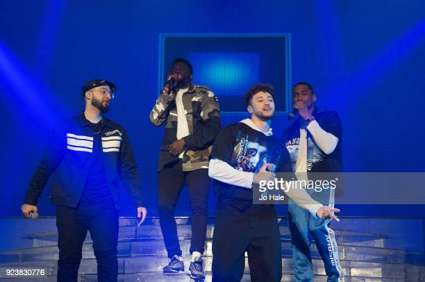 Mustafa Rahimtulla Ashley Fongo Myles Stephenson and Jamaal Shurland of RakSu perform on stage at X Factor Live Tour at SSE Arena on February 24 2018...