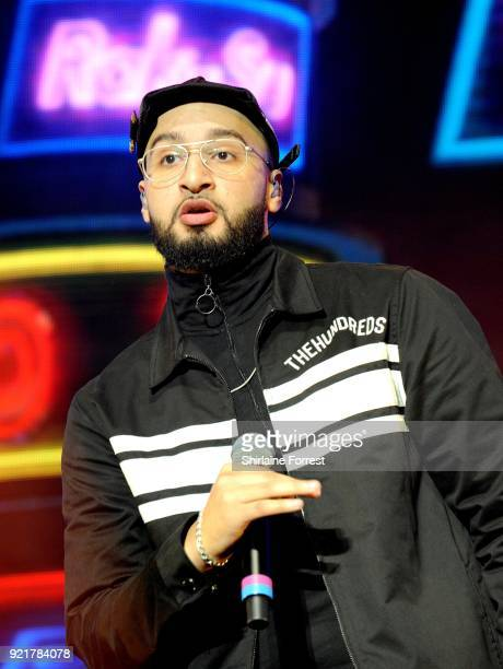 Mustafa Rahimtulla of RakSu performs during The X Factor Live at Manchester Arena on February 20 2018 in Manchester United Kingdom