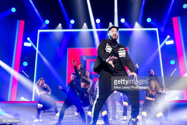 Mustafa Rahimtulla of RakSu performs on the X Factor Live tour on February 19 2018 in Cardiff United Kingdom