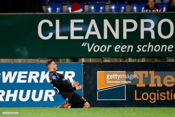 Mustafa Saymak of PEC Zwolle celebrates 23 during the Dutch Eredivisie match between Willem II v PEC Zwolle at the Koning Willem II Stadium on...