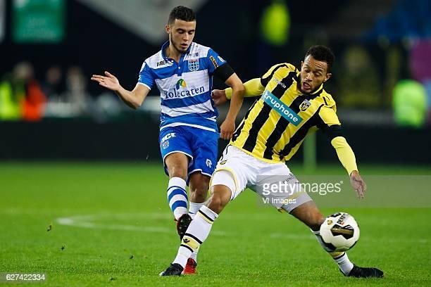 Mustafa Saymak of PEC Zwolle Lewis Baker of Vitesseduring the Dutch Eredivisie match between Vitesse Arnhem and PEC Zwolle at Gelredome on December...