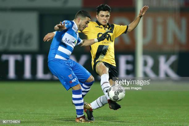 Mustafa Saymak of PEC Zwolle Manu Garcia Alonso of NAC Breda during the Dutch Eredivisie match between PEC Zwolle v NAC Breda at the MAC3PARK Stadium...