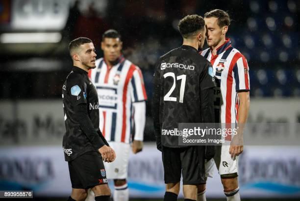 Mustafa Saymak of PEC Zwolle Younes Namli of PEC Zwolle Freek Heerkens of Willem II during the Dutch Eredivisie match between Willem II v PEC Zwolle...