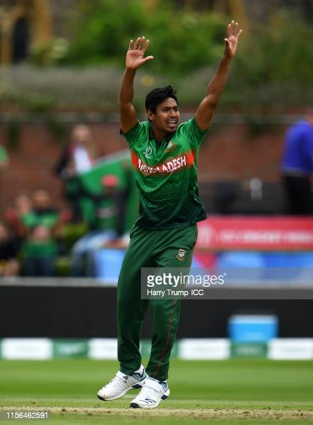 Mustafizur Rahman of Bangladesh appeals during the Group Stage match of the ICC Cricket World Cup 2019 between West Indies and Bangladesh at The...