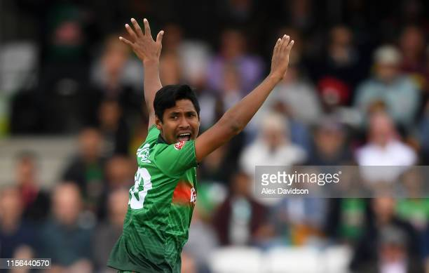 Mustafizur Rahman of Bangladesh appeals for a wicket during the Group Stage match of the ICC Cricket World Cup 2019 between West Indies and...