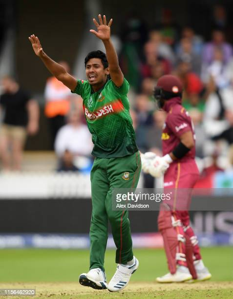 Mustafizur Rahman of Bangladesh appeals for the wicket of Shai Hope of West Indies during the Group Stage match of the ICC Cricket World Cup 2019...