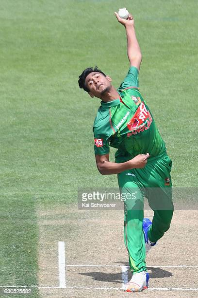 Mustafizur Rahman of Bangladesh bowling during the first One Day International match between New Zealand and Bangladesh at Hagley Oval on December 26...