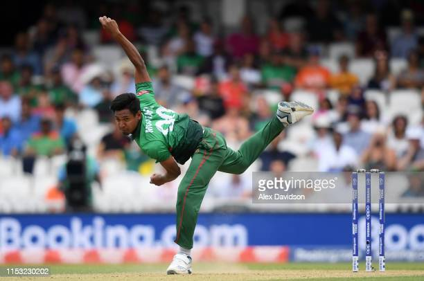 Mustafizur Rahman of Bangladesh bowls during the Group Stage match of the ICC Cricket World Cup 2019 between South Africa and Bangladesh at The Oval...