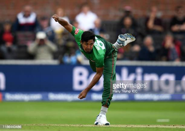 Mustafizur Rahman of Bangladesh bowls during the Group Stage match of the ICC Cricket World Cup 2019 between West Indies and Bangladesh at The County...