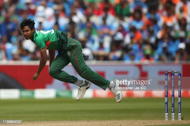 Mustafizur Rahman of Bangladesh bowls during the Group Stage match of the ICC Cricket World Cup 2019 between Bangladesh and India at Edgbaston on...