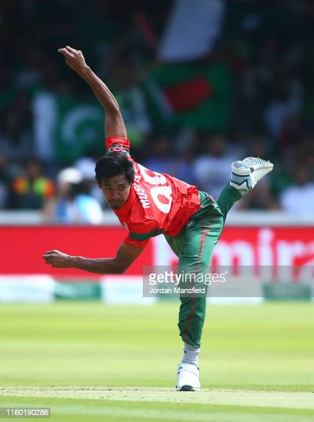 Mustafizur Rahman of Bangladesh bowls during the Group Stage match of the ICC Cricket World Cup 2019 between Pakistan and Bangladesh at Lords on July...