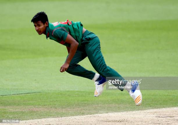 Mustafizur Rahman of Bangladesh bowls during the ICC Champions Trophy match between Australia and Bangladesh at The Kia Oval on June 5 2017 in London...