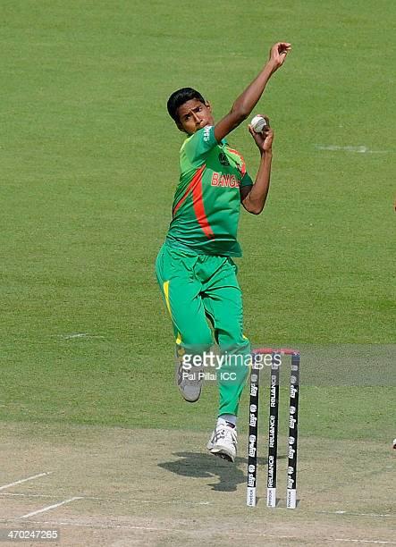 Mustafizur Rahman of Bangladesh bowls during the ICC - U19 CWC match between Australia - U19 and Bangladesh - U19 played at the Sheikh Zayed cricket...