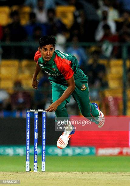 Mustafizur Rahman of Bangladesh bowls during the ICC World Twenty20 India 2016 match between Australia and Bangladesh at the Chinnaswamy stadium on...