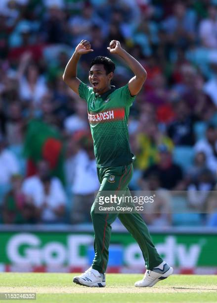 Mustafizur Rahman of Bangladesh celebrates after taking the wicket of David Miller of South Africa during the Group Stage match of the ICC Cricket...