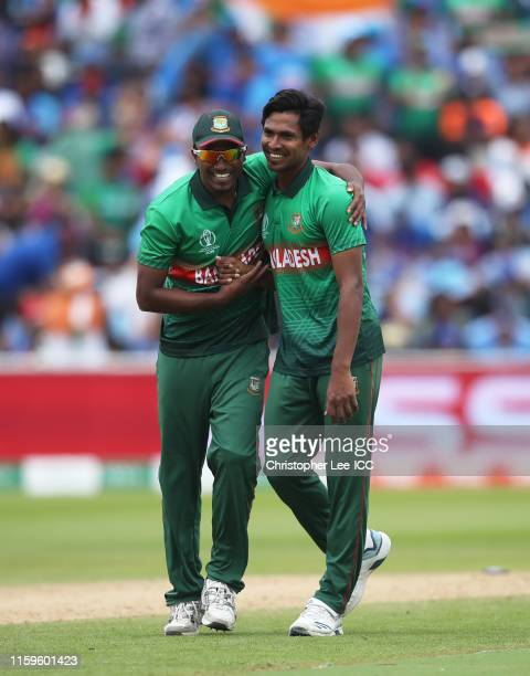 Mustafizur Rahman of Bangladesh celebrates after taking the wicket of Mohammed Shami of India for his fifth wicket during the Group Stage match of...