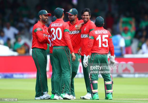 Mustafizur Rahman of Bangladesh celebrates after taking the wicket of Shadab Khan of Pakistan during the Group Stage match of the ICC Cricket World...