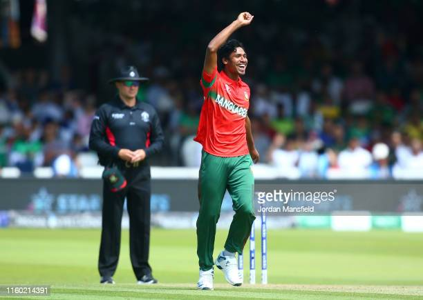Mustafizur Rahman of Bangladesh celebrates after taking the wicket of Mohammad Amir of Pakistan during the Group Stage match of the ICC Cricket World...