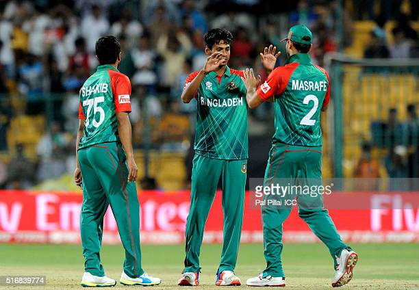 Mustafizur Rahman of Bangladesh celebrates the wicket of Steven Smith Captain of Australia during the ICC World Twenty20 India 2016 match between...