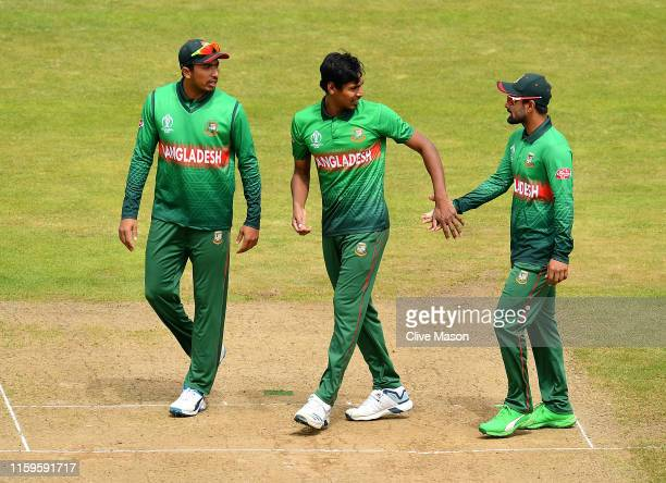 Mustafizur Rahman of Bangladesh celebrates the wicket of Virat Kohli of India during the Group Stage match of the ICC Cricket World Cup 2019 between...