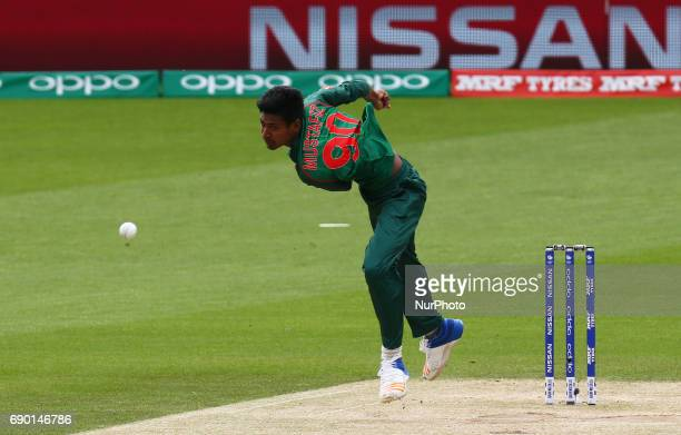 Mustafizur Rahman of Bangladesh during the ICC Champions Trophy Warmup match between India and Bangladesh at The Oval in London on May 30 2017