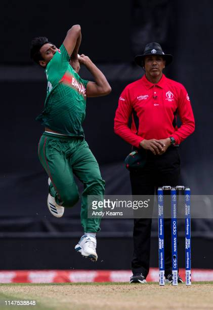 Mustafizur Rahman of Bangladesh in delivery stride during the Group Stage match of the ICC Cricket World Cup 2019 between South Africa and Bangladesh...
