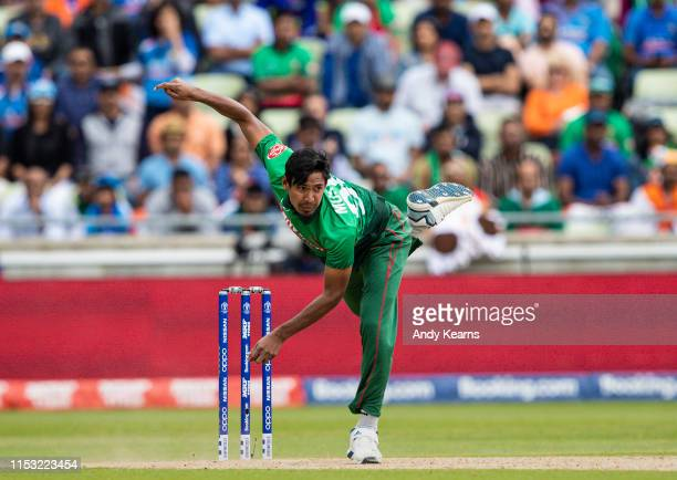 Mustafizur Rahman of Bangladesh in delivery stride during the Group Stage match of the ICC Cricket World Cup 2019 between Bangladesh and India at...