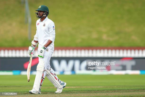 Mustafizur Rahman of Bangladesh leaves the field after being dismissed during day five of the second test match in the series between New Zealand and...