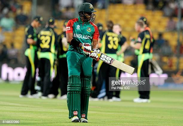 Mustafizur Rahman of Bangladesh walks back after getting out during the ICC World Twenty20 India 2016 match between Australia and Bangladesh at the...