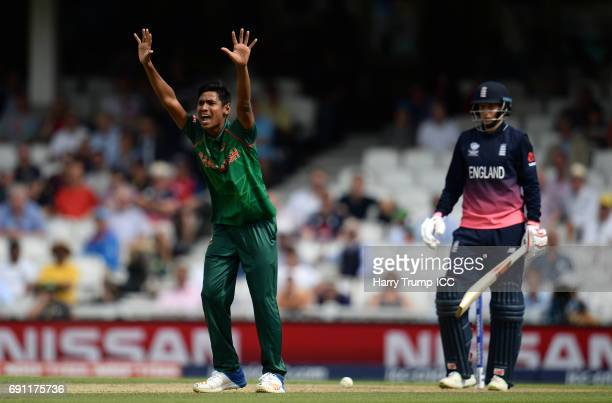 Mustafizur Rahman unsuccessfully appeals for the wicket of Joe Root of England during the ICC Champions Trophy match between England and Bangladesh...