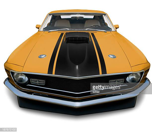 mustang fastback 1970 muscle car - xxxlarge - 1970s muscle cars stock pictures, royalty-free photos & images