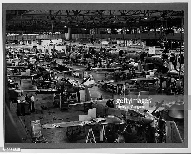 Mustang fighters are being manufactured at the North American Aviation factory in Inglewood California ca 1942