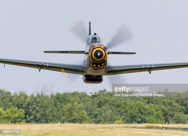 a p-51 mustang flies by at east troy, wisconsin. - p 51 mustang stock photos and pictures