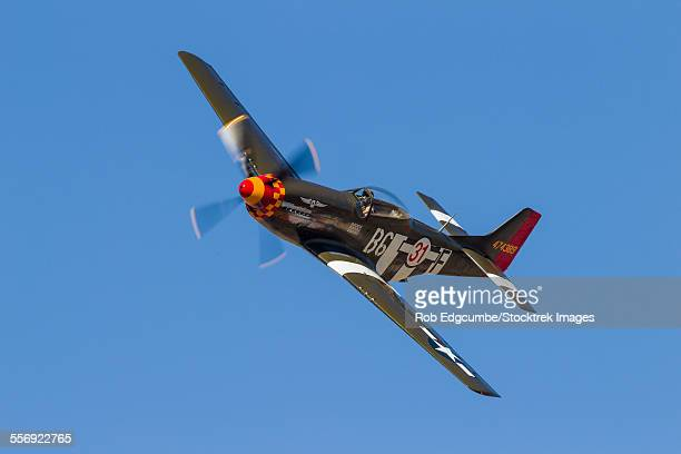 A P-51 Mustang flies by at Stead Field, Nevada.