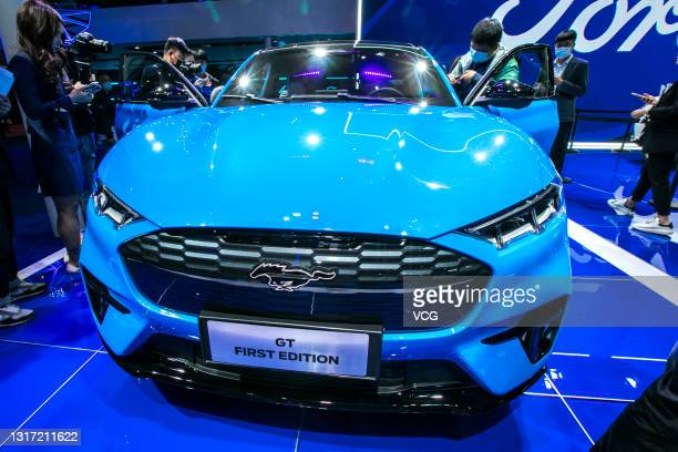 Mustang Mach-E electric sport utility vehicles is on display during the 19th Shanghai International Automobile Industry Exhibition at National...