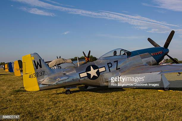a p-51 mustang parked at eaa airventure, oshkosh, wisconsin. - vilas_county,_wisconsin stock pictures, royalty-free photos & images