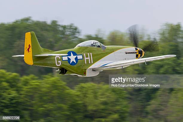 a p-51 mustang takes off from mount comfort, indiana. - p 51 mustang stock photos and pictures