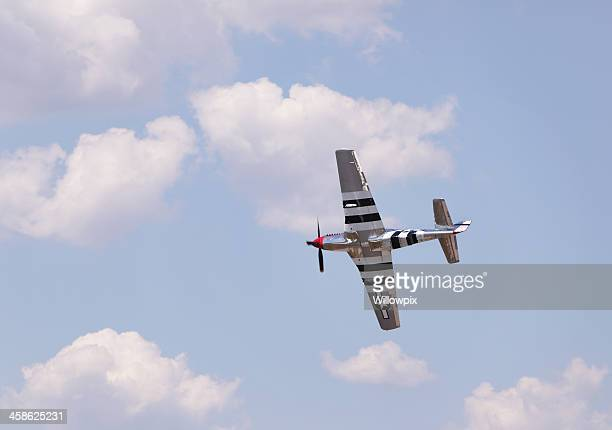 p-51 mustang wwii vintage military airplane at airshow - p 51 mustang stock photos and pictures
