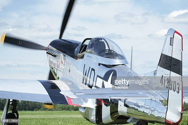 P-51D Mustang WWII Vintage Military Airplane Taxiing at Airshow