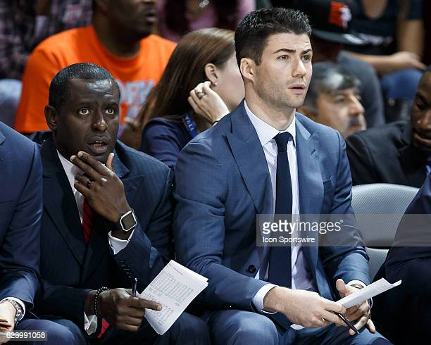 Mustangs assistant coaches Jay Duncan and Shawn Forrest during the college basketball game between the SMU Mustangs and the GardnerWebb Runnin'...