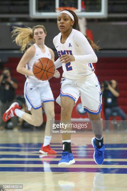 Mustangs guard Ariana Whitfield brings the ball up court during the game between SMU and Wichita State on January 15 2019 at Moody Coliseum in Dallas...