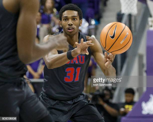 Mustangs guard Jimmy Whitt passes the ball during the college basketball game between the TCU Horned Frogs and the SMU Mustangs on December 5 at the...