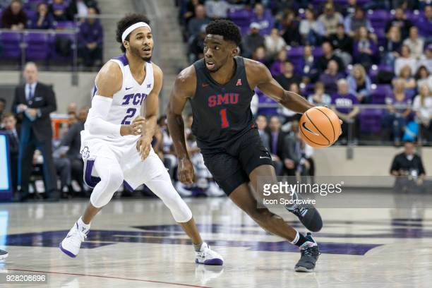 Mustangs guard Shake Milton dribbles past TCU Horned Frogs guard Shawn Olden during the college basketball game between the TCU Horned Frogs and the...
