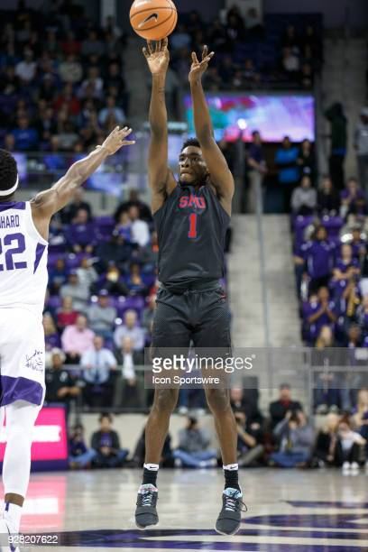 Mustangs guard Shake Milton shoots during the college basketball game between the TCU Horned Frogs and the SMU Mustangs on December 5 at the Ed Rae...