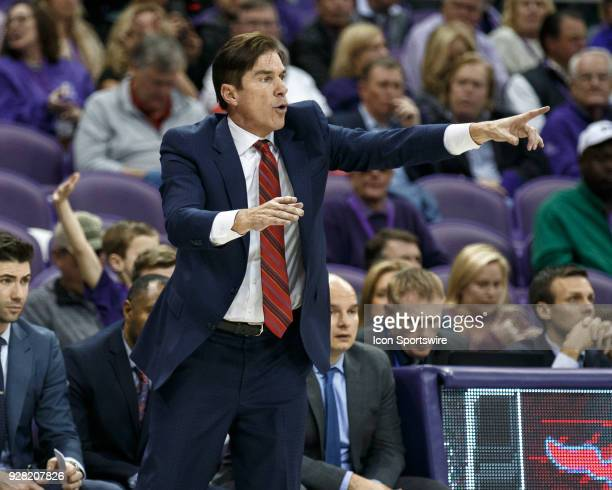 Mustangs head coach Tim Jankovich calls out a play during the college basketball game between the TCU Horned Frogs and the SMU Mustangs on December 5...