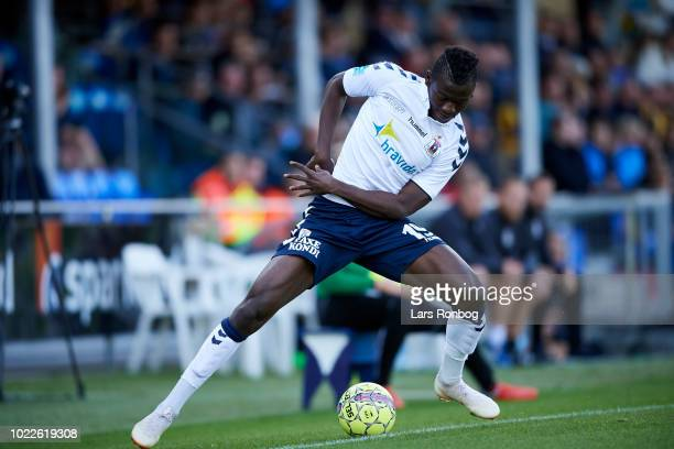 Mustapha Bundu of AGF Aarhus controls the ball during the Danish Superliga match between Hobro IK and AGF Aarhus at DS Arena on August 24 2018 in...
